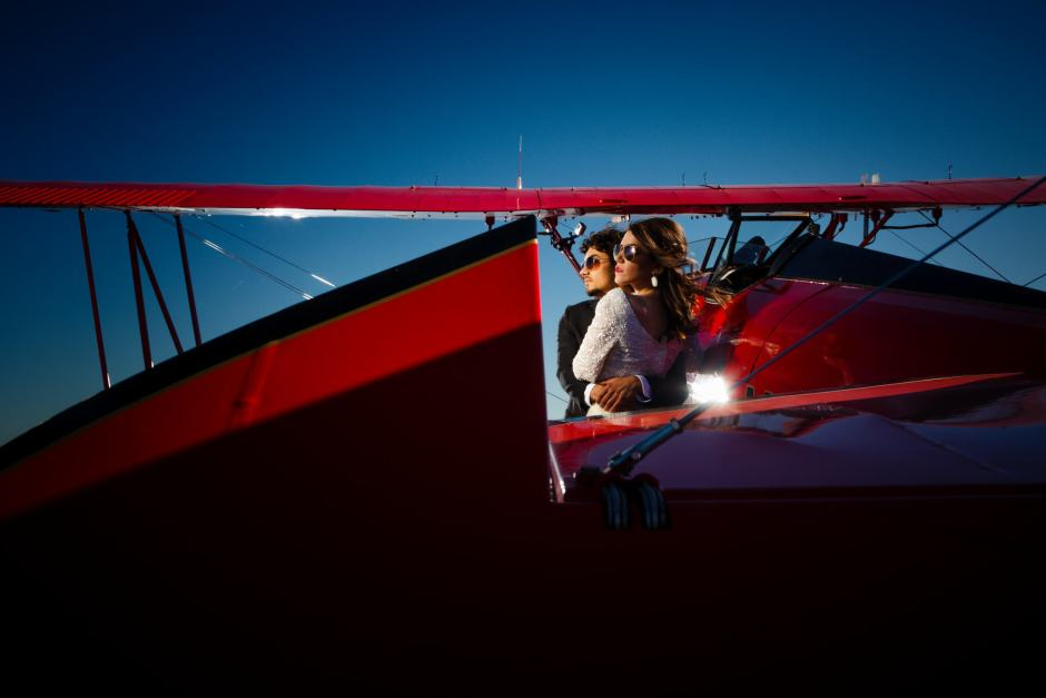 Austin Wedding Styled - Styled Elopement - Bride and Groom make their way to a vintage bi-plane for a honeymoon get-away.