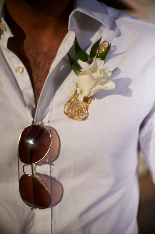 Austin Wedding Style - Styled Country Elopement - Grooms guitar themed boutonniere with white rose.