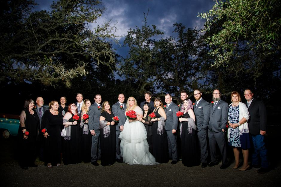 Full bridal party group photo at Ruby Ranch and Lodge in Buda, Texas.