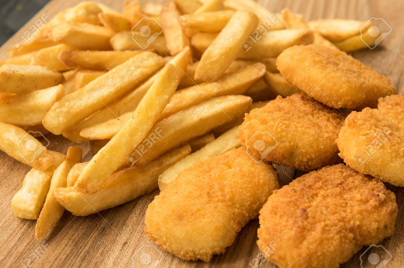 Homemade french fries and chicken nuggets