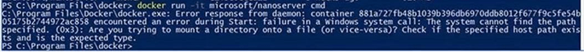 Error response from daemon container..encountered an error during start