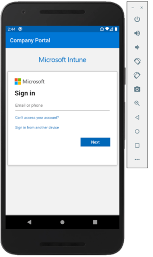 Machine generated alternative text: 244 @  Company Portal  Microsoft Intune  Microsoft  Sign in  Email or phone  Caft access your account?  Sign in from another device  o  Next