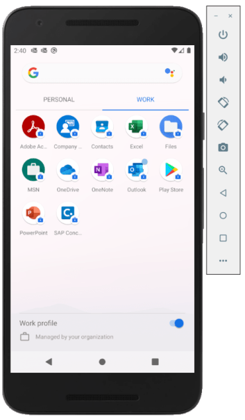 Machine generated alternative text: Adobe Ac  PERSONAL  Company  SAP Conc.  Contacts  OneNo'e  WORK  Excel  Outlook  Files  Play Store  'O  o  Work profile  Managed by your organization