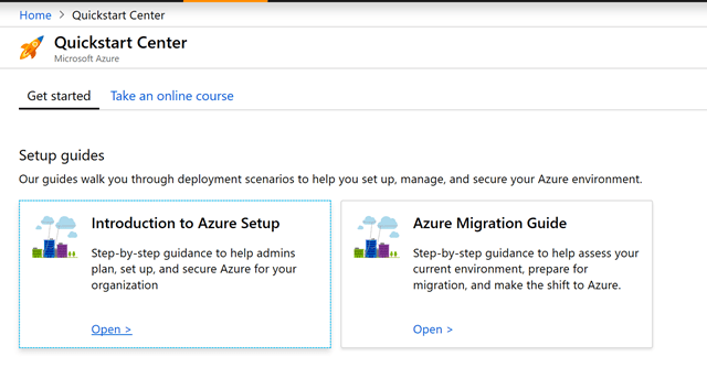 Screenshot of setup guides, start a project, and online trainings to help manage cloud deployment