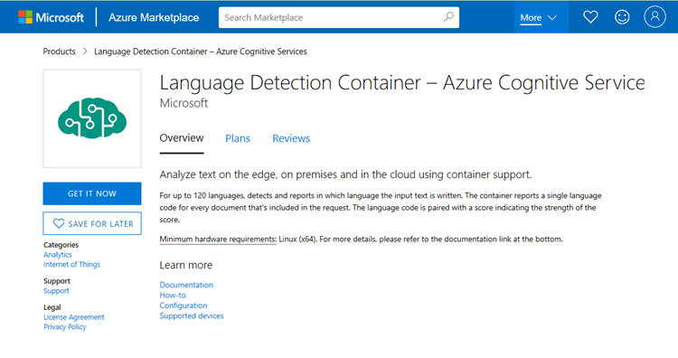 Screenshot of Language Detection Container offering in the Azure Marketplace