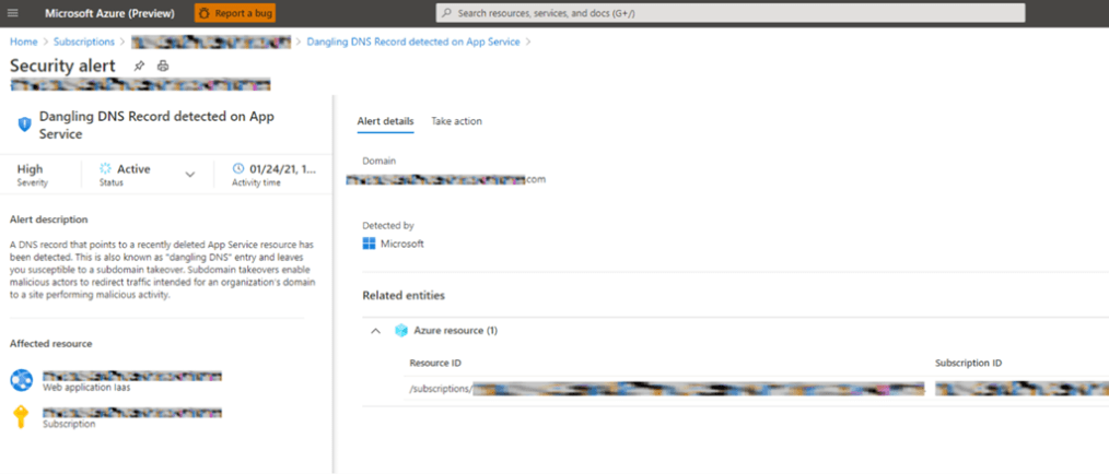 Figure 1. Sample of an Azure Defender alert raised in response to a Dangle DNS record has been detected.