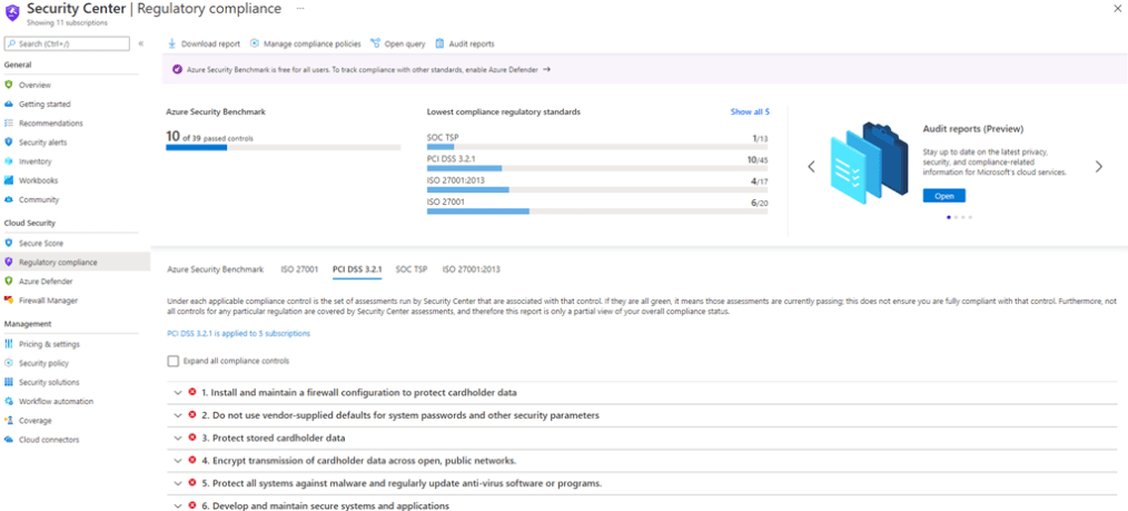 Azure Security Centre Regulatory compliance