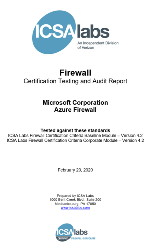 Front page of the ICSA Labs Certification Testing and Audit Report for Azure Firewall.
