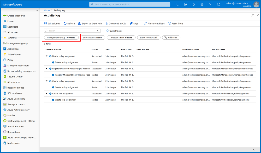 Screenshot of access to Management Groups and the Activity Log