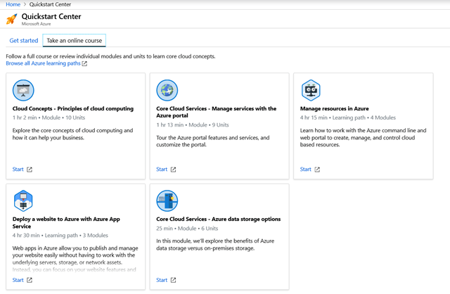 Screenshot showing the available online learning options to build Azure skills and knowledge