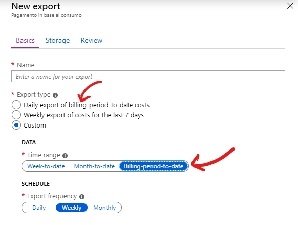 An image showing the data export page.