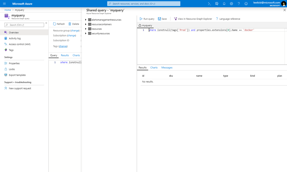 A screenshot showing Azure Graph Queries.