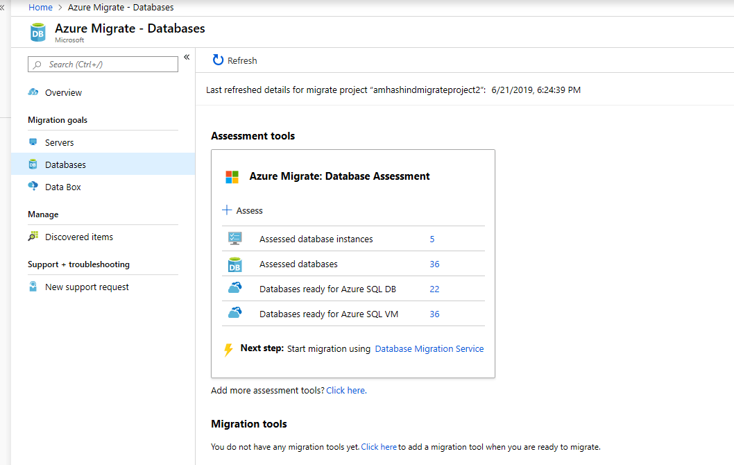 Azure Migrate - Databases
