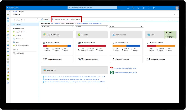 Screenshot of exporting PDF or CSV throgh the Advisor UI in the Azure portal