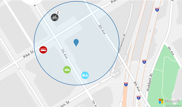 Show on map nearby transit objects around given location and within specific radius.