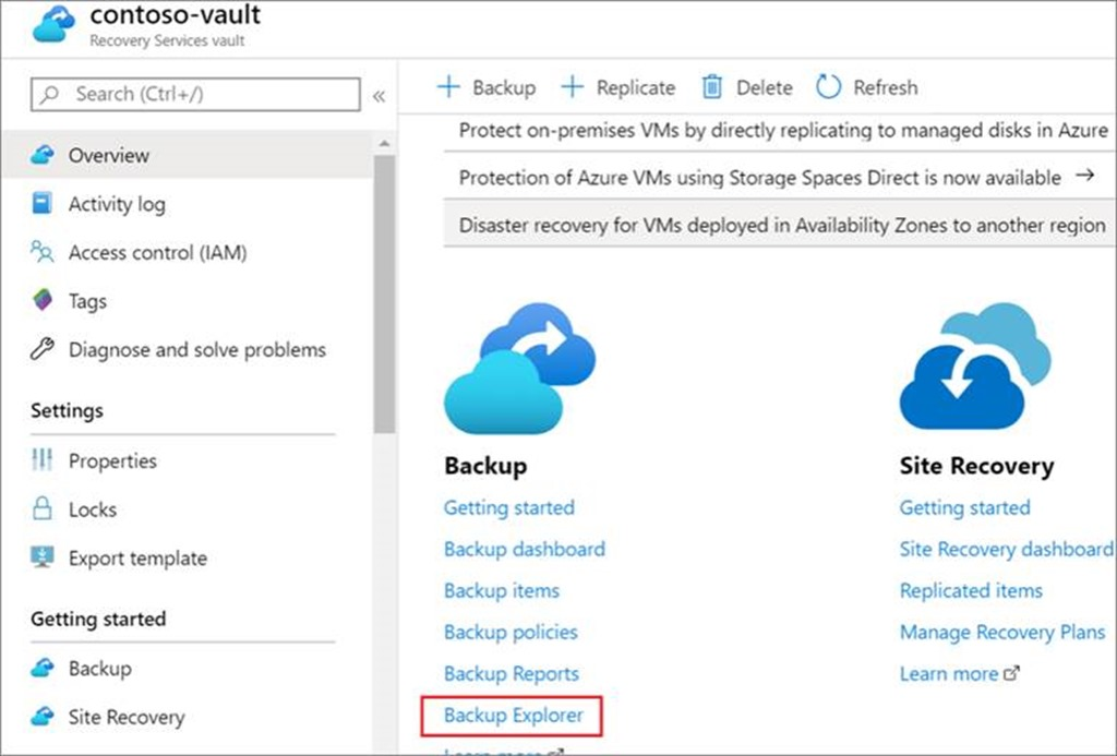 Backup Explorer link in Recovery Services Vault