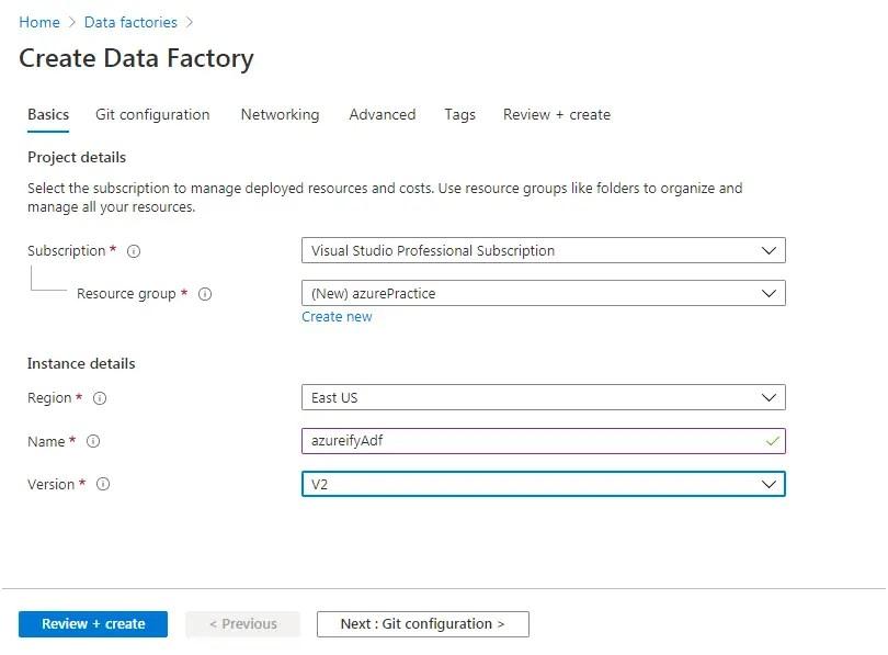 create azure data factory account