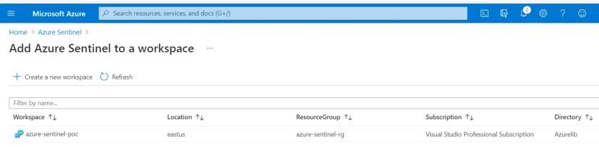 See newly created azure log analytics workspace