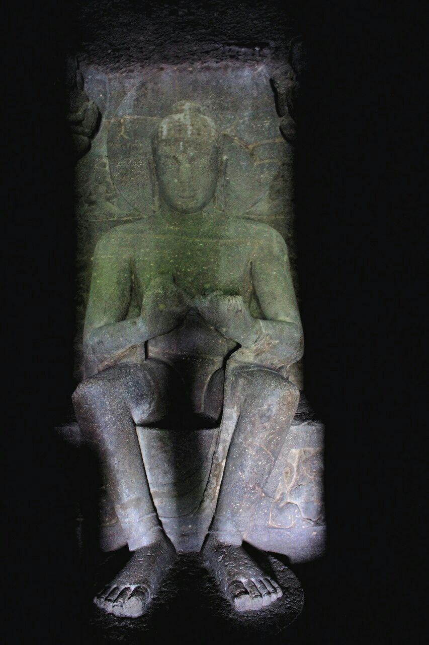 Ellora cave 2- 19 Buddha seated in Bhadrasana pose in lionthrone
