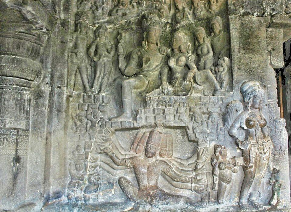 Ellora cave 21- 8 ravana shaking mount kailash