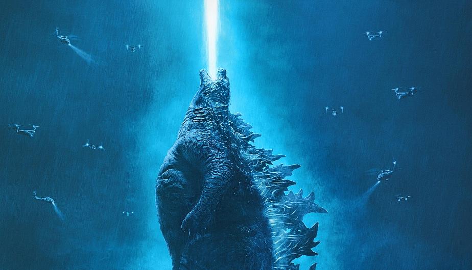 Godzilla lanzando un rayo azul al cielo