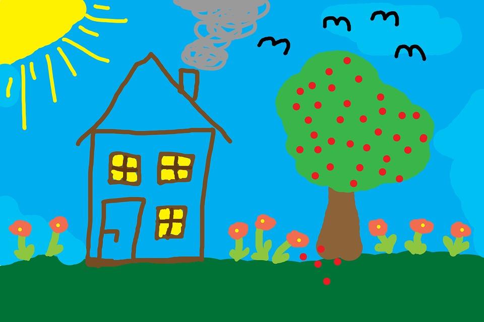 Нарисуем - будем жить. Домик на детском рисунке. Фото из интернета