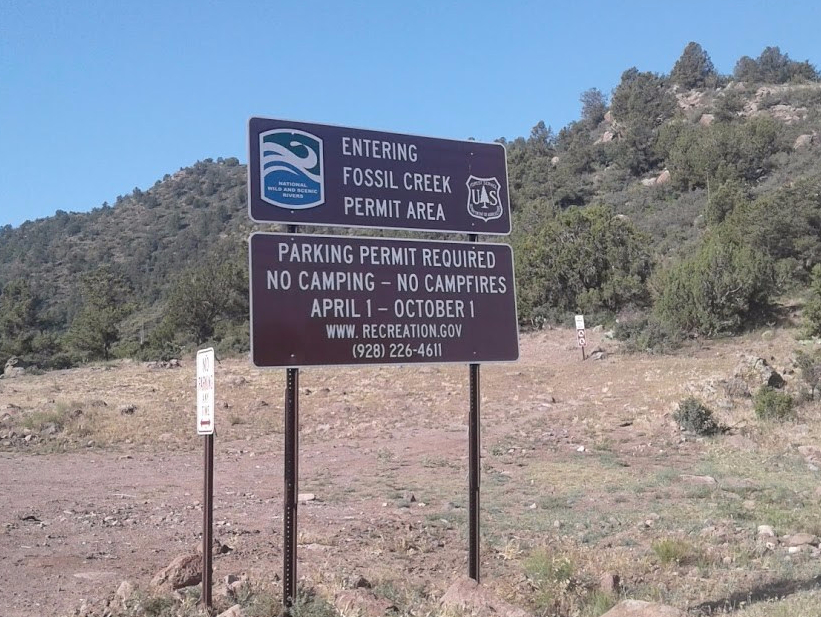 Fossil Creek permit sign