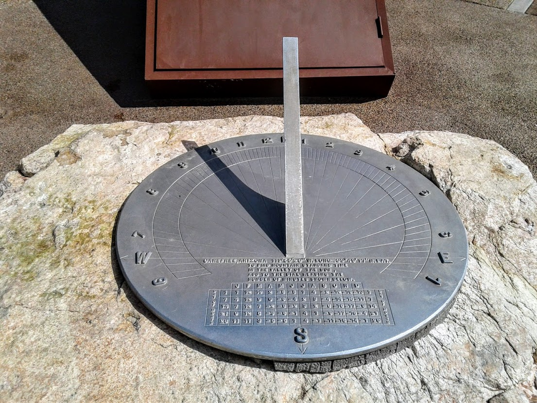 Small scale sundial in Carefree, AZ