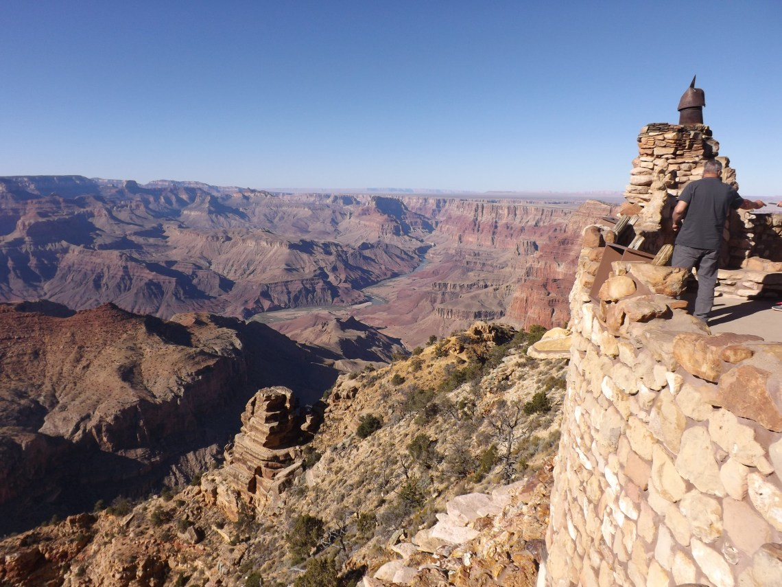 Man on Grand Canyon Desert View lookout point