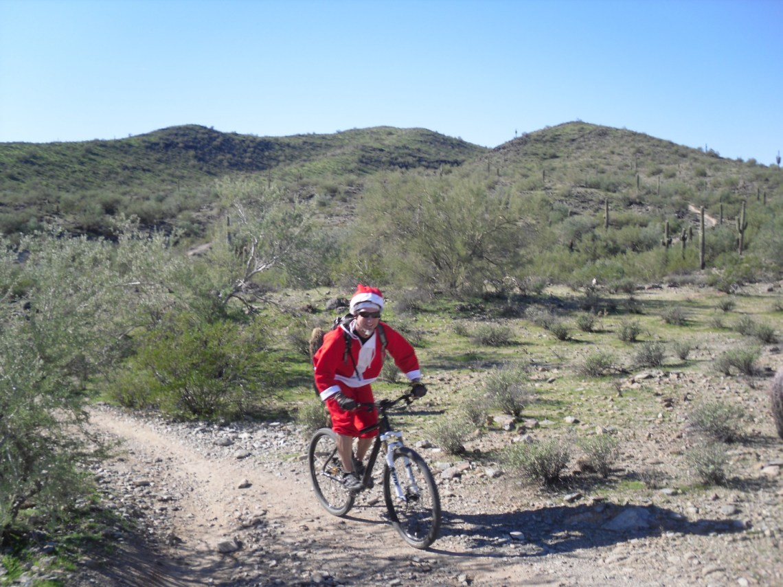 Santa mountain biking in Phoenix