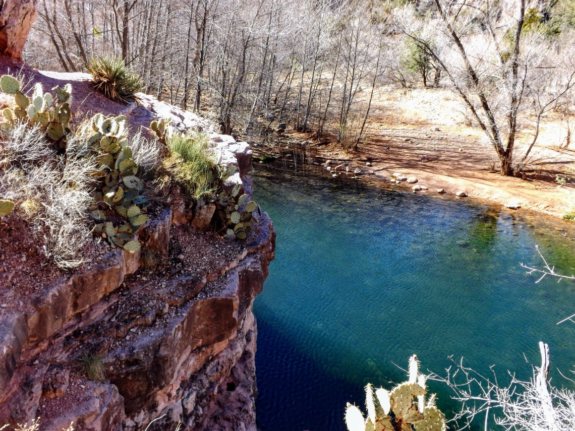 Aerial view of a Parsons Creek pool from a rock ledge above