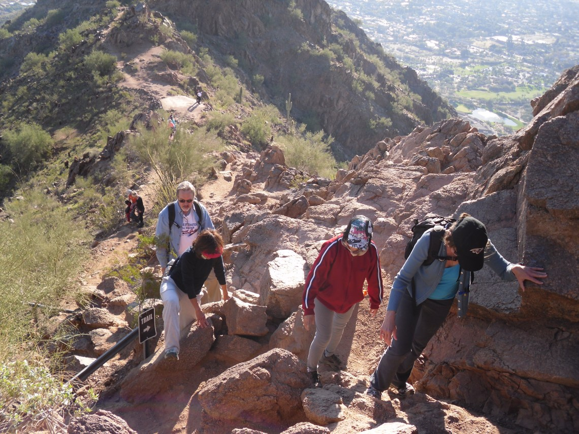 Steep section of Cholla Trail on Camelback Mountain