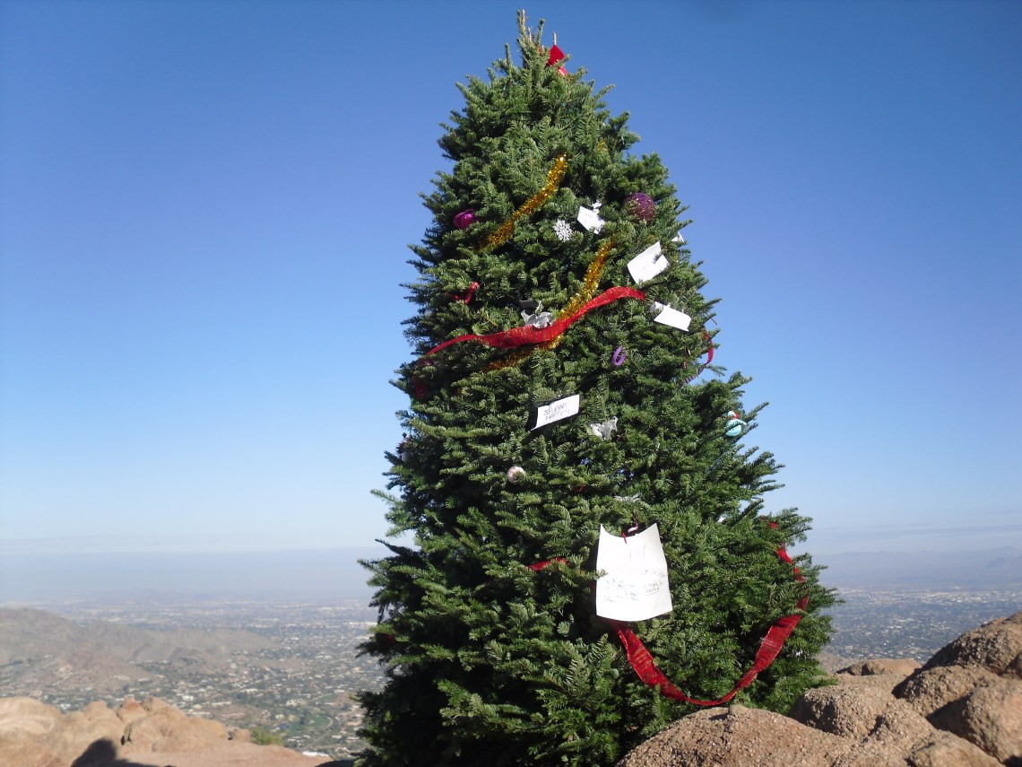 Christmas tree on Camelback Mountain Phoenix AZ