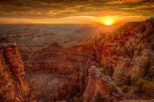 Dazzling sunset viewed from Grand Canyon