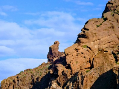 close up shot of praying monk rock formation