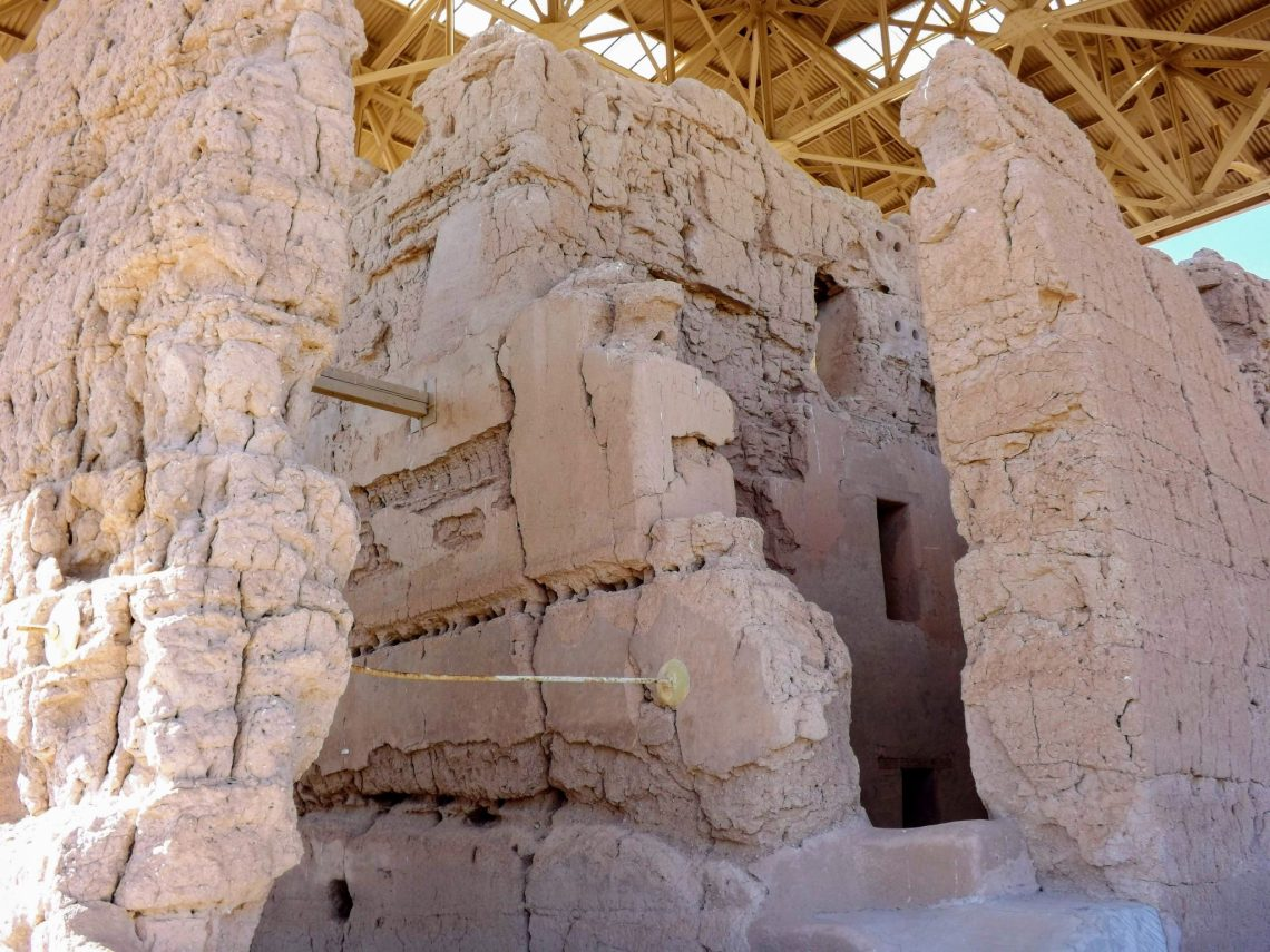 """Close up view of the """"great house"""" at Casa Grande National Monument"""