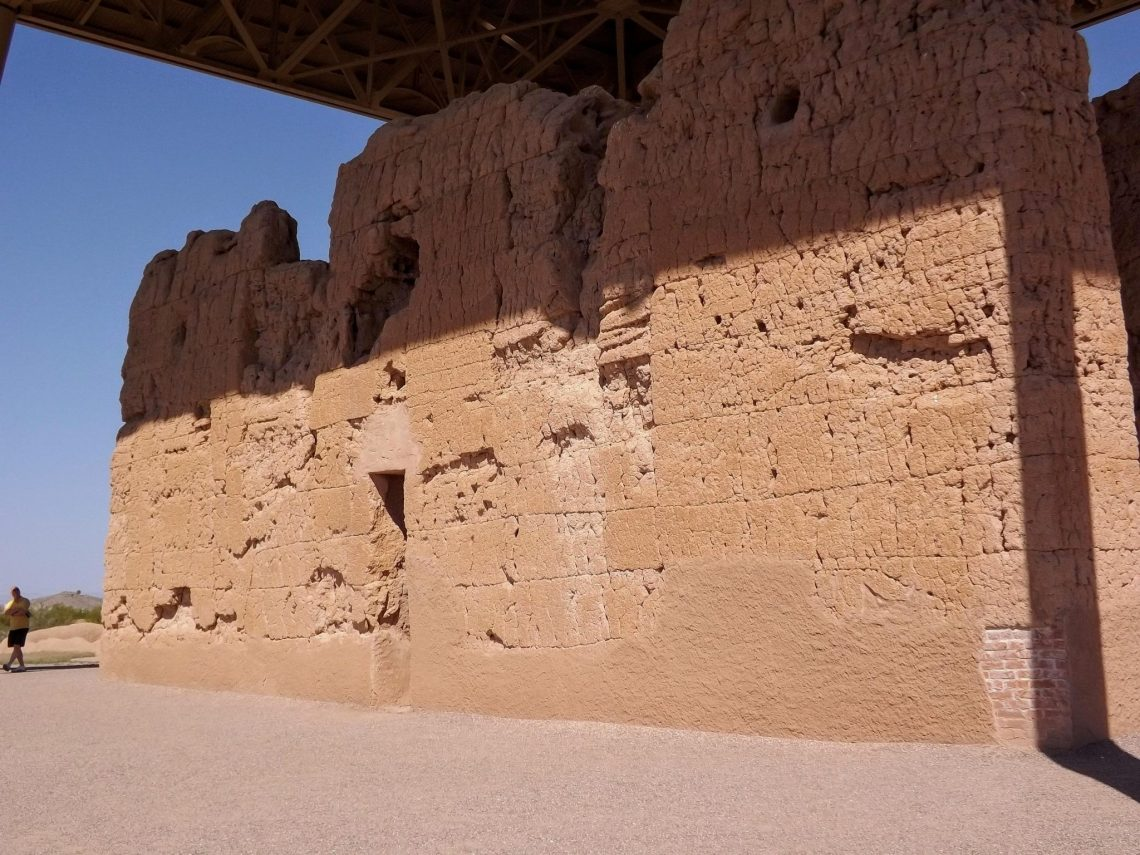 "Close up view of back side of ""great house"" at Casa Grande National Monument"