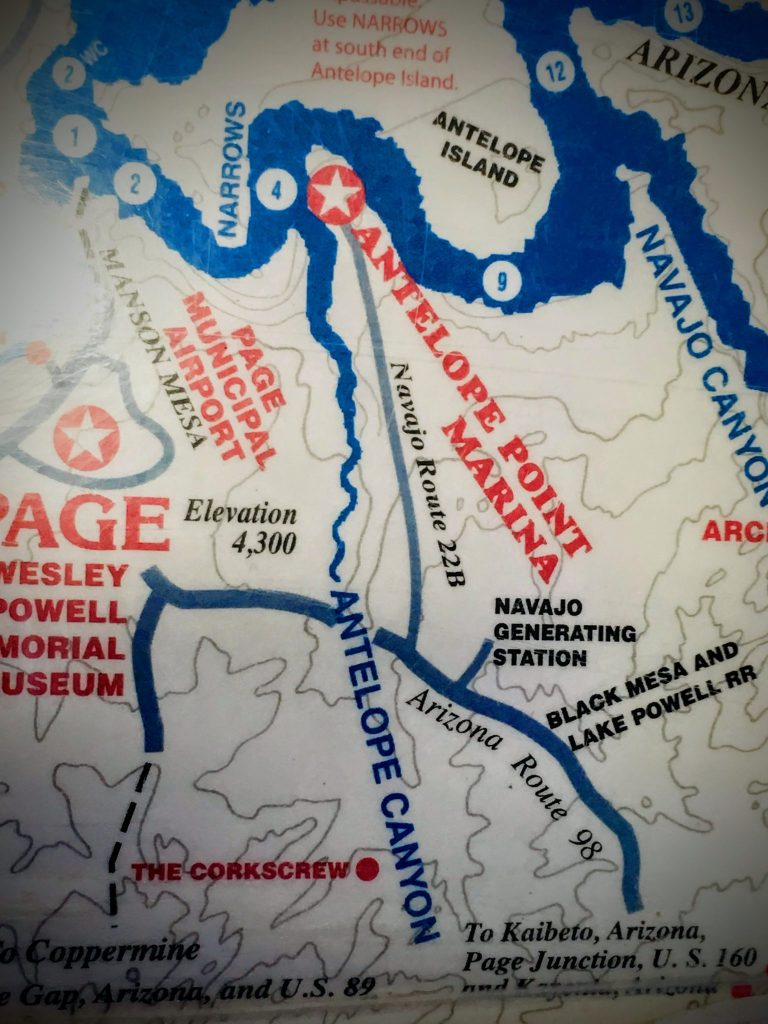 Cropped view of map of Lake Powell