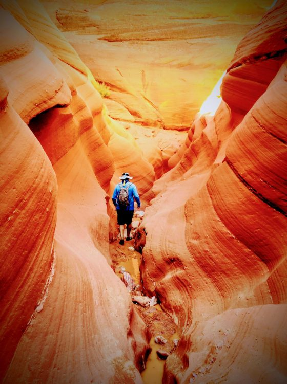 "Man hiking ""upstream"" in a red sandstone slot canyon."