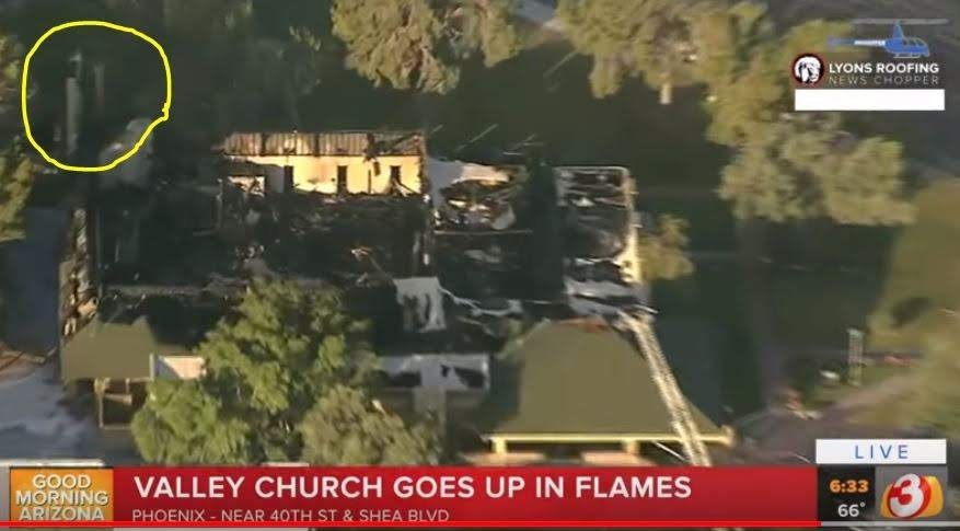 aerial view of burned out church