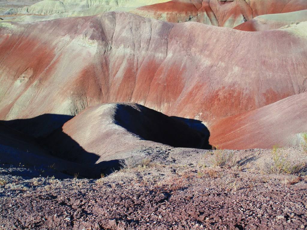 Close up view of colorful mounds of soil at Little Painted Desert County Park in Arizona