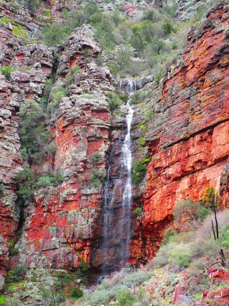 Tall waterfall along Barnhardt Trail near Payson, AZ