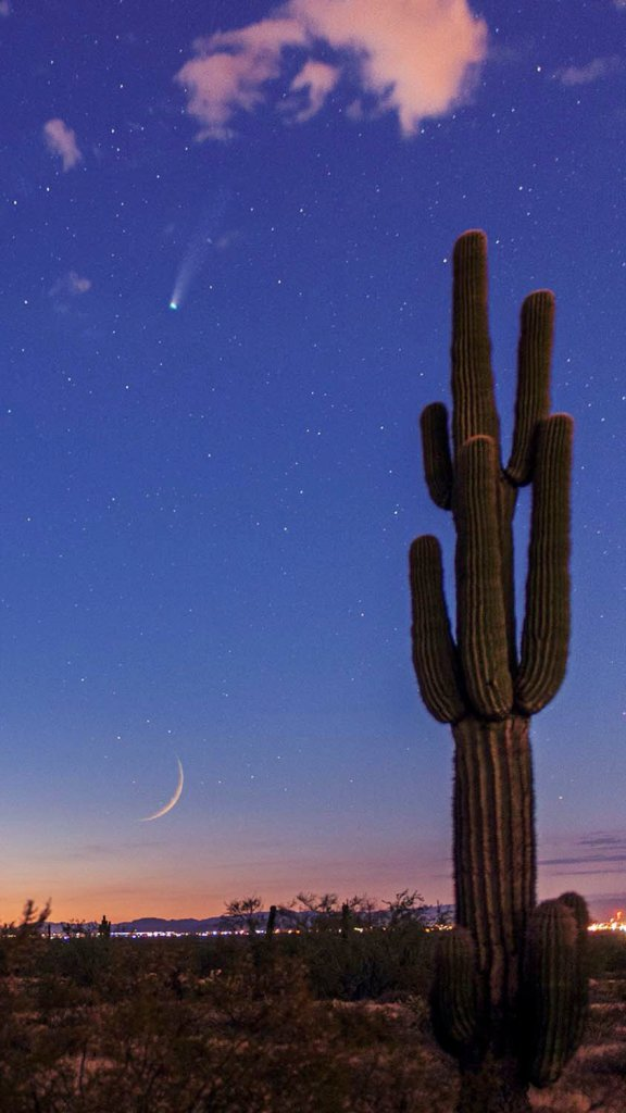 Comet Neowise and waxing crescent moon in the desert sky over Arizona.