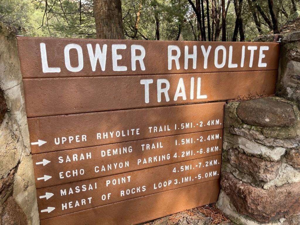 Lower Rhyolite Trail sign