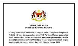 kenyataan media Pejabat perdana menteri total lockdown