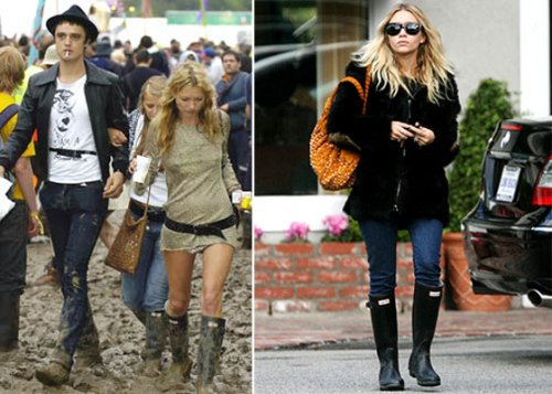 Kate Moss y Ashley Olsen vistiendo botas Hunter. Foto