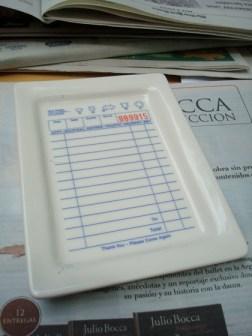 Ticket impreso sobre cerámica