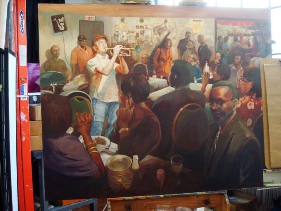 Pintura de Kaz Ooka - Bushwick Open Studios. Foto.
