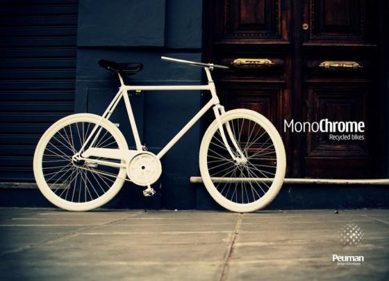Bici tipo fixie reciclada, por Monochrome. Foto.