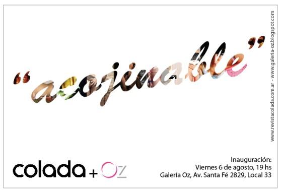 Flyer inauguración de muestra Acojinable de revista Colada. Imagen.